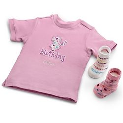 First Birthday T-Shirt with Socks Gift