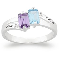 Sterling Silver Couple's Birthstone Name Ring with Diamonds