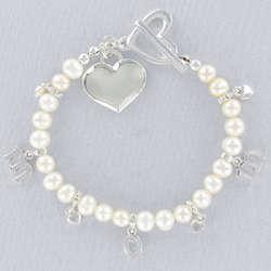 Engraved Freshwater Pearl Mom Bracelet