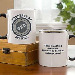 Personalized Property of My Kids Father's Coffee Mug