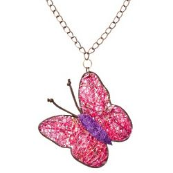 Dark Pink Agave Butterfly Necklace