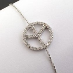 Cubic Zirconia Peace Sign Bracelet in 14k White Gold