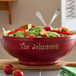 Large Bamboo Personalized Serving Bowl