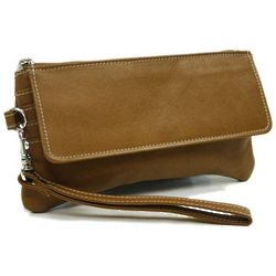 Piel Leather Flap-Over Clutch with Wristlet