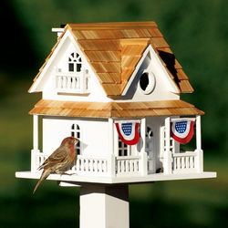 Wooden Birdhouse with Patriotic Bunting