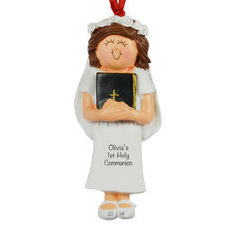 Personalized Girl's First Communion with Bible Ornament