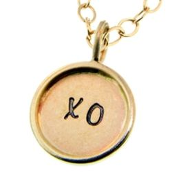 Personalized Hugs and Kisses Gold Charm Necklace