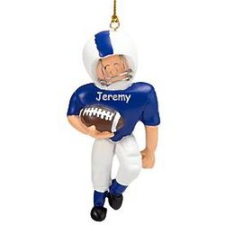 Personalized Male Caucasian Football Player Ornament