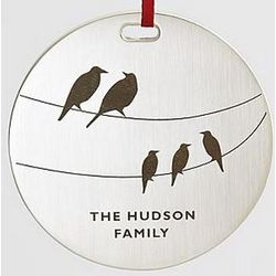 Personalized Birds on Two Wires Metal Ornament