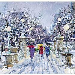 Snowfall at the Bridge Greeting Cards