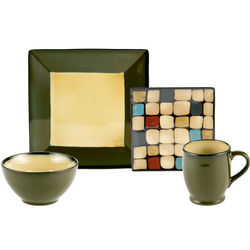 Belmont Square Green Dots Dinnerware Set
