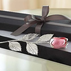 Elegant Silver-Plated Pink or Red Rose