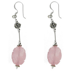 Marcasite & Carved Rose Quartz Silver Earrings