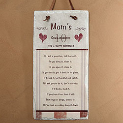 Mom's Household Rules Personalized Slate Wall Plaque