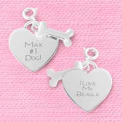 Dog Bone and Heart Charm