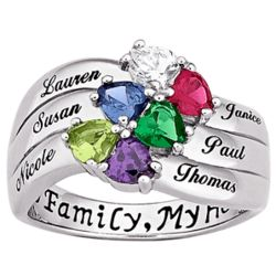 Sterling Silver Birthstone Heart and Name Family Ring