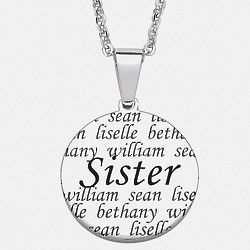 Personalized Stainless Steel Sister Names Necklace