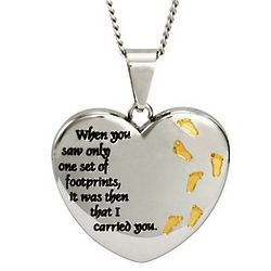 Stainless Steel Footprints in the Sand Heart Pendant
