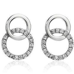 Duet Diamond Circle Earrings in 14K White Gold
