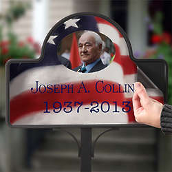 Personalized American Flag Photo Memorial Stake Magnet