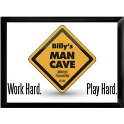 Personalized Work Hard, Play Hard Framed Pub Sign