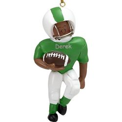 Personalized Male African American Football Player Ornament