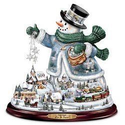 Let It Snow Thomas Kinkade Snowman Tabletop Centerpiece