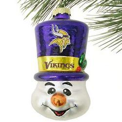 Minnesota Vikings Top Hat Snowman Blown Glass Ornament