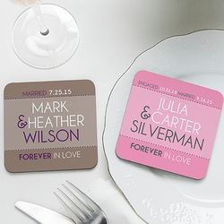 Forever in Love Personalized Coaster Favors