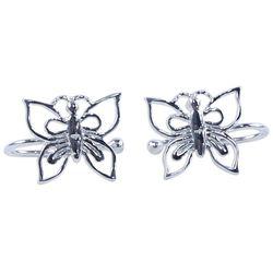 Demure Butterflies Sterling Silver Ear Cuffs