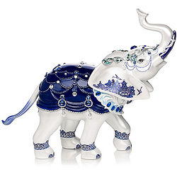 Sparkling Blue Willow Elephant Figurine with Crystals