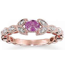 14K Rose Gold Leaf Pink Sapphire Diamond Ring