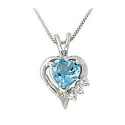 Heart Shape BlueTopaz and Diamond Pendant