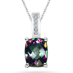 Diamond & Mystic Topaz Pendant and Necklace in White Gold