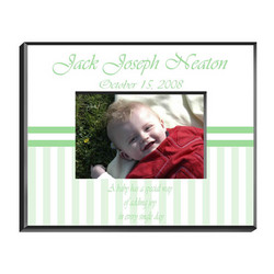 Personalized Green-Striped Baby Picture Frame