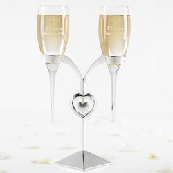 Wedding Toasting Flutes and Silver Flute Holder