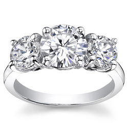 1.00 Ct. TW. Round Three Stone Diamond Ring D, SI2 in White Gold