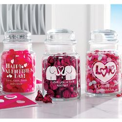 Personalized Valentine Treat Jars Set