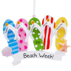 Personalized 5 Flip Flops Beach Ornament