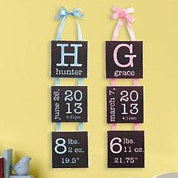 Personalized Birth Info Hanging Canvas