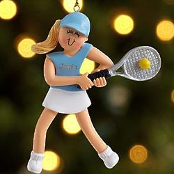Personalized Female Blonde Caucasian Tennis Player Ornament