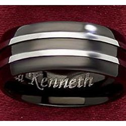 Personalized Black Stainless Steel Ring