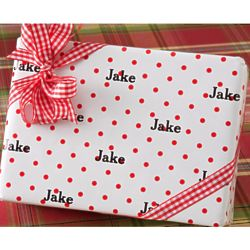 Personalized Gift Wrap with Red Polka Dot Pattern