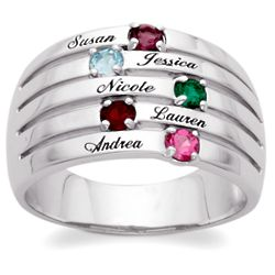 Sterling Silver Family Name & Birthstone Domed Ring