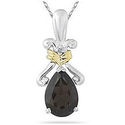 Pear Shaped Smokey Quartz Pendant in 14K Yellow Gold and Silver
