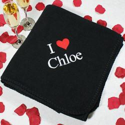 Embroidered I Love You Fleece Throw Blanket