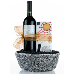 Cookies and Corks Red Wine Basket