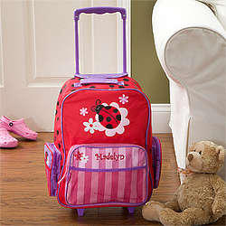Personalized Girl's Ladybug Rolling Luggage