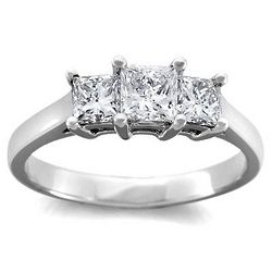 1.25 Ct. H SI2 Princess Cut Three Stone Diamond Ring