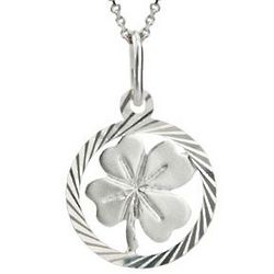 Sterling Silver Lucky Four Leaf Clover Pendant